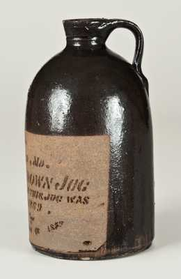 Tanware Advertising Whiskey Jug for S. T. SUIT / SUITLAND, MD, New Geneva, PA, 1879