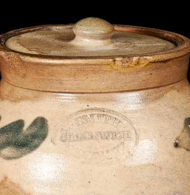 Very Rare Small Stoneware Lidded Jar Impressed W. SMITH / GREENWICH / NEW YORK