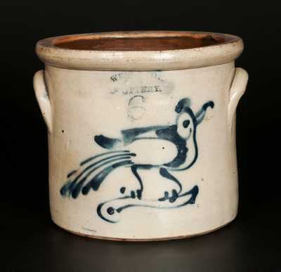 6 Qt. WEST TROY POTTERY Stoneware Crock with Bird Decoration