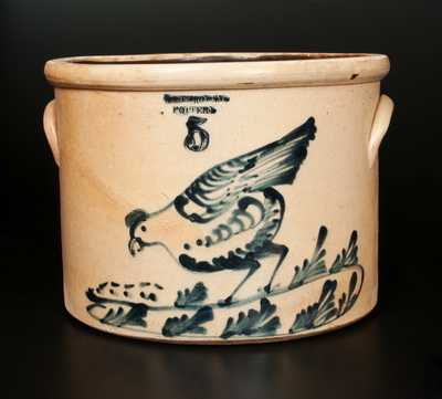 5 Gal. WEST TROY / POTTERY Stoneware Cake Crock with Chicken Pecking Corn Decoration