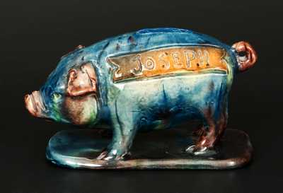 Unusual Multi-colored Earthenware Pig Bank Inscribed