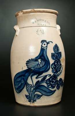 4 Gal. N. A. WHITE & SON / UTICA, NY Stoneware Churn w/ Elaborate Paddletail Bird Decoration