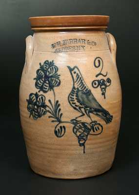 W. H. FARRAR & CO. / GEDDES, NY Stoneware Churn w/ Elaborate Bird-and-Floral Decoration