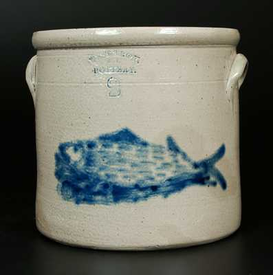 Rare WEST TROY / NY / POTTERY Stoneware Crock w/ Elaborate Fish Decoration