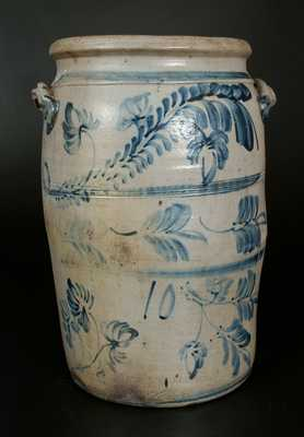 Unusual 10 Gal. Morgantown, WV Stoneware Crock w/ Profuse Brushed Floral Decoration