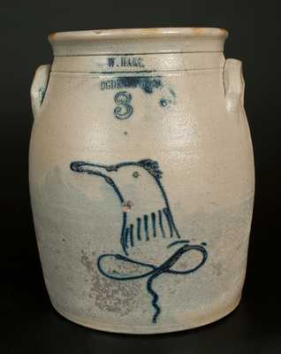 W. HART / OGDENSBURGH Stoneware Jar with Cobalt Bird Decoration