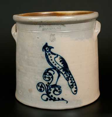 A.O. WHITTEMORE. / HAVANA. N.Y Stoneware Crock w/ Cobalt Bird Decoration, Five-Gallon