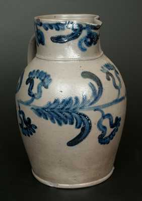Fine and Rare Baltimore Stoneware Pitcher w/ Elaborate Cobalt Floral Decoration, Two-Gallon