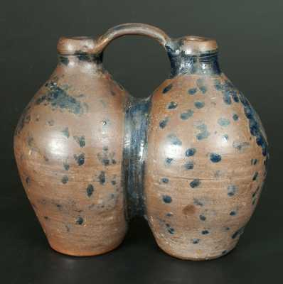 Extremely Rare Stoneware Gemel Jug w/ Cobalt Spotted and Floral Decoration