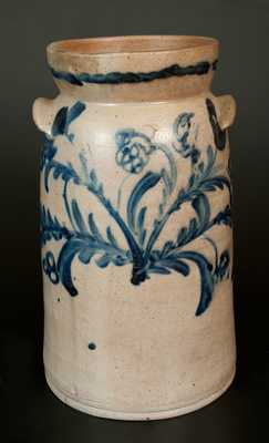 Exceptional 2 Gal. Stoneware Churn with Floral Decoration, Baltimore, circa 1825