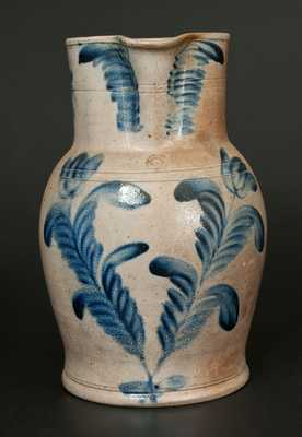 2 Gal. Stoneware Pitcher with Tulip Decoration att. Richard Remmey, Philadelphia, PA
