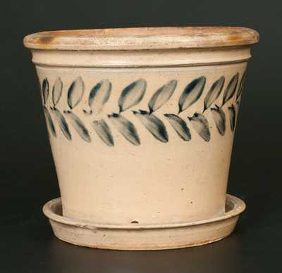 Unusual Decorated Stoneware Flowerpot