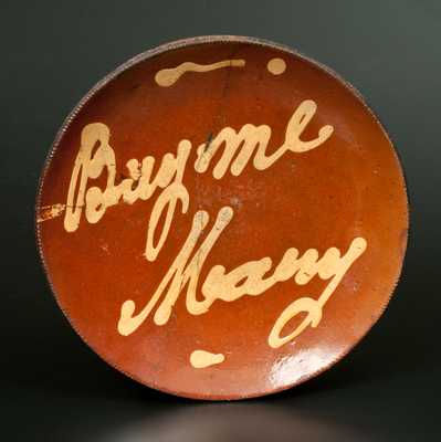 Rare Norwalk, CT Redware Plate with Yellow Slip Inscription,