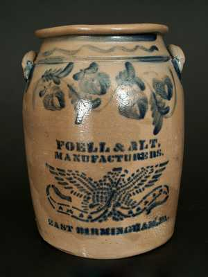 Exceptional Stoneware Eagle Crock, FOELL & ALT, / MANUFACTURERS. / EAST BIRMINGHAM. PA.