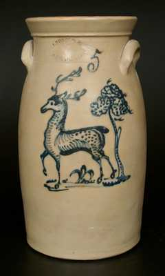 J. BURGER JR. / ROCHESTER, NY Stoneware Churn with Deer and Tree Decoration