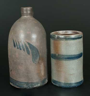 Lot of Two: Western PA Striped Stoneware Canning Jar and Jug