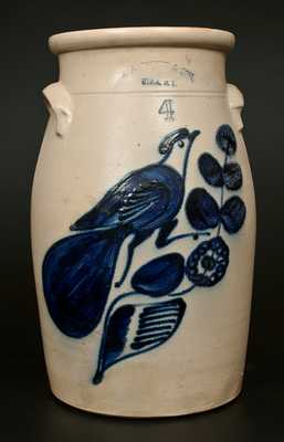 N. A. WHITE & SON / UTICA, NY 4 Gal. Stoneware Churn w/ Bold Paddletail Bird Decoration