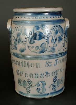 Three-Gallon Hamilton & Jones / Greensboro, PA Stoneware Crock