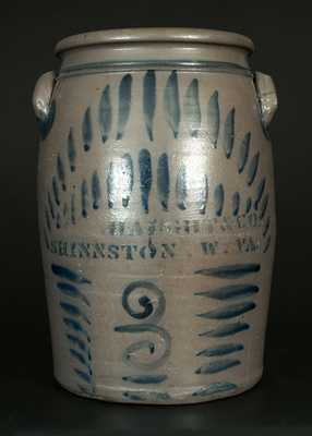 3 Gal. HAUGHT & CO. / SHINNSTON, W. VA Stoneware Crock with Elaborate Brushed Decoration