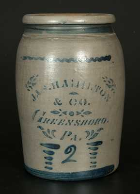 2 Gal. JAS. HAMILTON & CO. / GREENSBORO, PA Stoneware Jar with Stenciled and Brushed Decoration