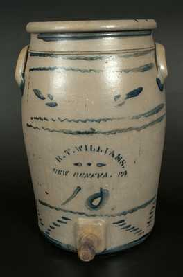 Rare R. T. WILLIAMS / NEW GENEVA, PA 10 Gal. Stoneware Water Cooler w/ Brushed Decoration