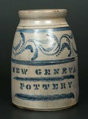Very Rare NEW GENEVA POTTERY Stoneware Canning Jar with Elaborate Brushed Vine Decoration