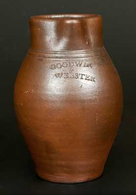 Rare GOODWIN & WEBSTER, Hartford, CT Stoneware Pitcher