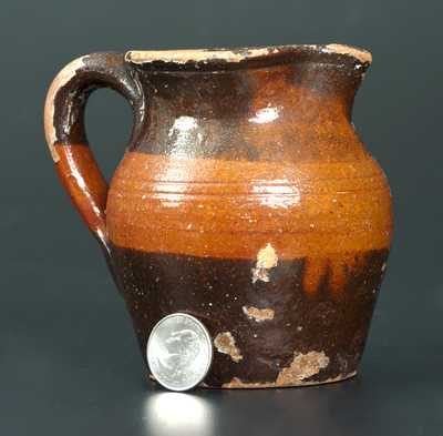 Unusual Redware Cream Pitcher w/ Striped Decoration, Great Road Tennessee or Virginia