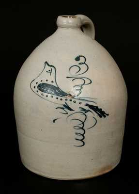 S. HART / FULTON 3 Gal. Stoneware Jug with Slip-Trailed Bird Decoration