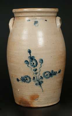 W. ROBERTS BINGHAMTON, NY 5 Gal. Stoneware Churn with Floral Decoration
