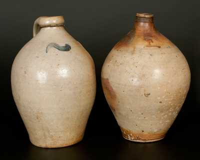 Lot of Two: Ovoid Stoneware Jugs incl. CHARLESTOWN Double Iron-Dipped Example