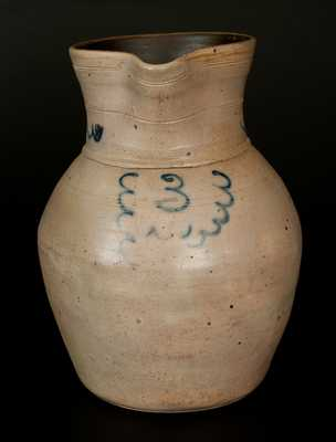 3 Gal. Stoneware Pitcher with Slip Trailed Decoration
