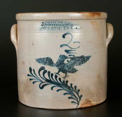 Exceptional J. C. WAELDE / NORTH BAY Stoneware Eagle Crock