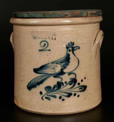 HAXSTUN, OTTMAN & CO. / FORT EDWARD, NY 2 Gal. Stoneware Crock with Bird Decoration