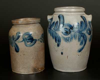 Lot of Two: Stoneware Crocks with Floral Decoration, Baltimore, second and third quarters 19th century