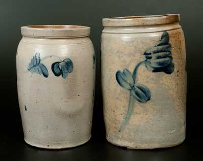 Lot of Two: Stoneware Crocks with Floral Decoration, Baltimore, 19th century