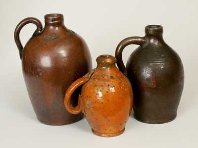Lot of Three: Stoneware and Redware Jugs with Tennessee Provenance