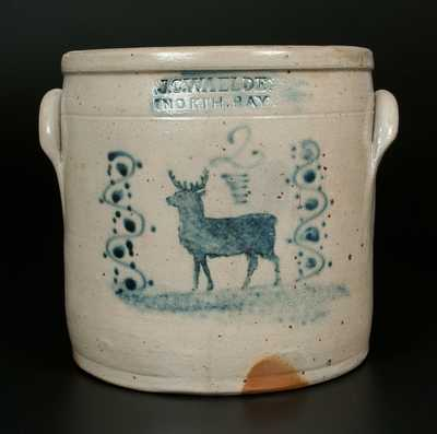Very Rare J.C. WAELDE / NORTH BAY Stoneware Crock w/ Stenciled Deer Decoration