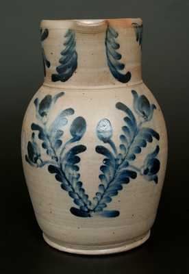 Baltimore Stoneware Pitcher w/ Elaborate Cobalt Floral Decoration, Two-Gallon