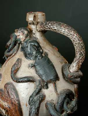 Exceedingly Rare and Important Anna Pottery Snake Jug w/ Civil War & Slavery Motifs