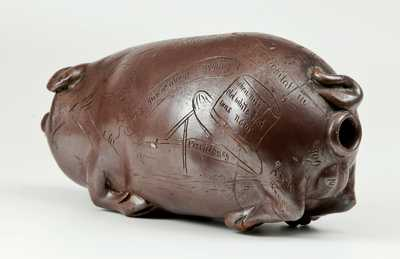 Important Anna Pottery Stoneware Horace Greeley Political Pig Flask, One of Only Three Known