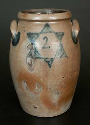 Rare James River Valley of Virginia Stoneware Crock w/ Floral and Star Decoration