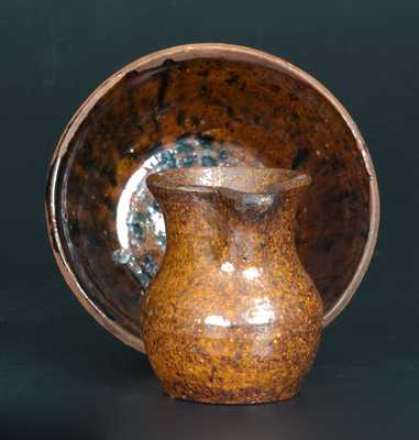 Very Rare Miniature Redware Pitcher & Bowl w/ Cain Family (Sullivan County, TN) Provenance