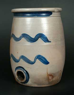 Very Rare Western PA Stoneware Water Cooler with Striped Decoration