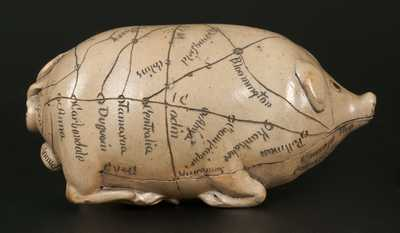 Exceptional Anna Pottery Salt-Glazed Stoneware Pig Flask w/ Detailed Railroad Map,