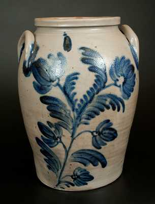 4 Gal. Baltimore Stoneware Crock with Exceptional Floral Decoration, c1845