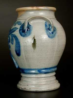 Exceptional R. W. RUSSELL / BEAVER, PA Diminutive Stoneware Pedestal Water Cooler w/ Floral Decoration