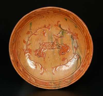 Fine Jacob Medinger, Montgomery County, PA, Redware Dish with Sgraffito Deer and Floral Decoration