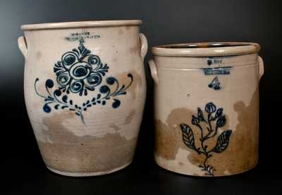 Lot of Two: New York Stoneware Crocks w/ Floral Decoration (W. HART / OGDENSBURGH and W. A. LEWIS / GALESVILLE)
