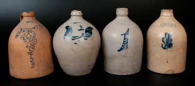 Lot of Four: Stoneware Jugs by DARROW, WEST TROY POTTERY, S. HART, and E. NORTON & CO. / BENNINGTON